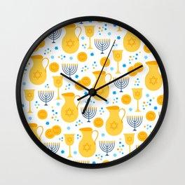 Hanukkah Traditions Pattern Wall Clock