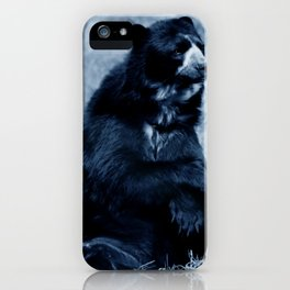 Black bear contemplating life iPhone Case