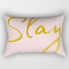 Slay in Gold and Pink Rectangular Pillow