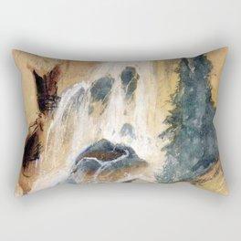 Crystal Falls Watercolour 1871 By Thomas Moran | Abstract Landscape Reproduction Rectangular Pillow