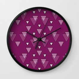 Geometric Triangles in Fuchsia Pink Wall Clock