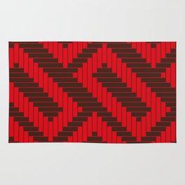 Chocolate Red Geometric Groove Rug