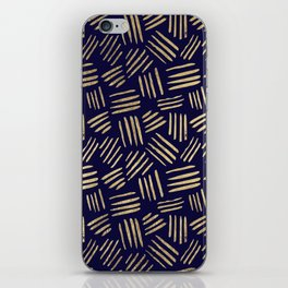 Chic navy blue faux gold abstract brushstrokes iPhone Skin