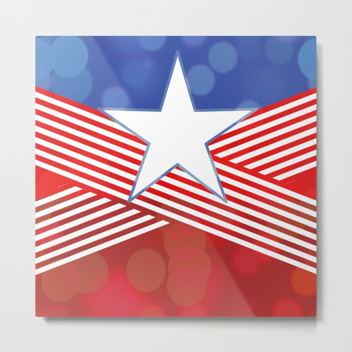 Red White And Blue Party Metal Print