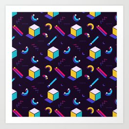 Festive Background in Neo Memphis Style Colorful Space Decorative pattern Art Print