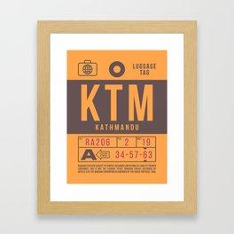 Retro Airline Luggage Tag 2.0 - KTM Kathmandu Airport Nepal Framed Art Print
