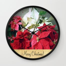 Mixed color Poinsettias 3 Merry Christmas S2F1 Wall Clock