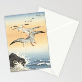 Japanese Seagull Woodblock Print by Ohara Koson Stationery Cards