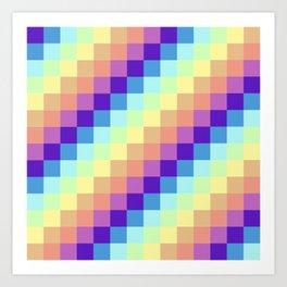 Diagonal Pixel Colorful Art Print