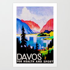 Davos Switzerland - Vintage Travel Art Print