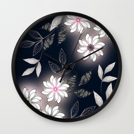 White flowers on a dark background. Wall Clock