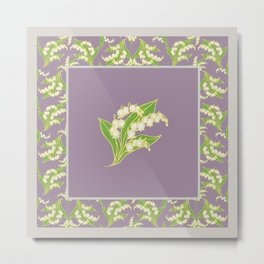 Vintage-style Lily-of-the-Valley on Mauve Metal Print