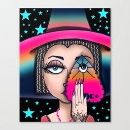 Witchy Woman, Ouija Witch Art, Gypsy Stars Canvas Print
