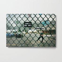 Behind a skate park fence Metal Print