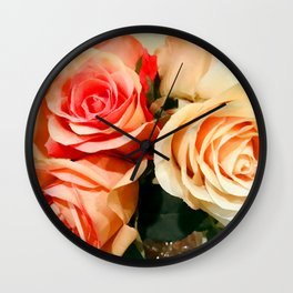 Summer Soft Roses in Red, Peach and Yellow Wall Clock