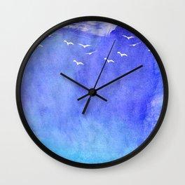 Blue Watercolor Beach Wall Clock