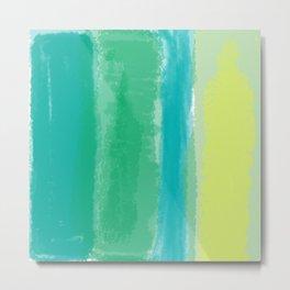 Bluish Blues 4 - Teal, Light Blues, Yellow Metal Print