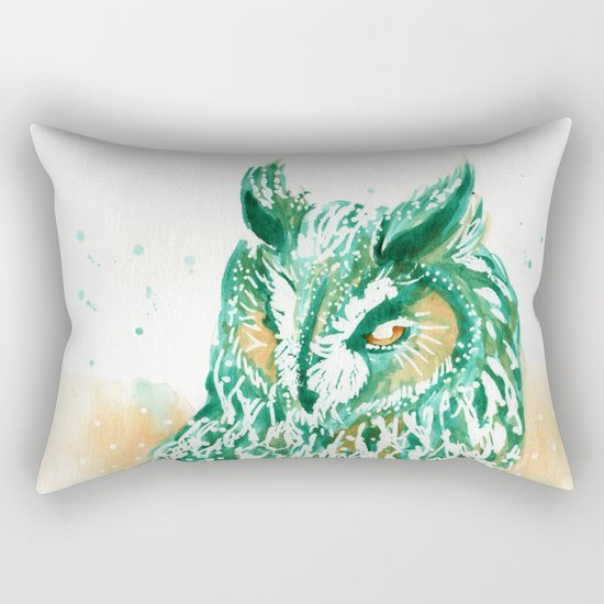 green owl Rectangular Pillow