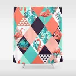 Flamingo Diamonds Shower Curtain