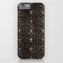 Fleur-de-lis pattern black and gold iPhone Case