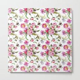 Pink lavender yellow watercolor elegant floral Metal Print