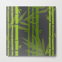 Lime Green Bamboo Leaves Pattern on Grey Metal Print