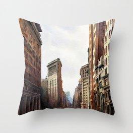 The Flatiron Building in Sepiatone Throw Pillow