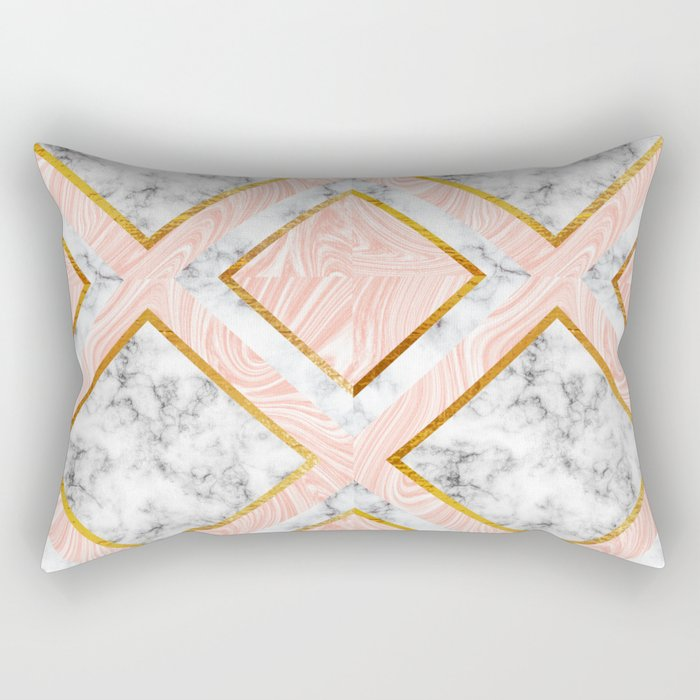 Gold and marble Rectangular Pillow