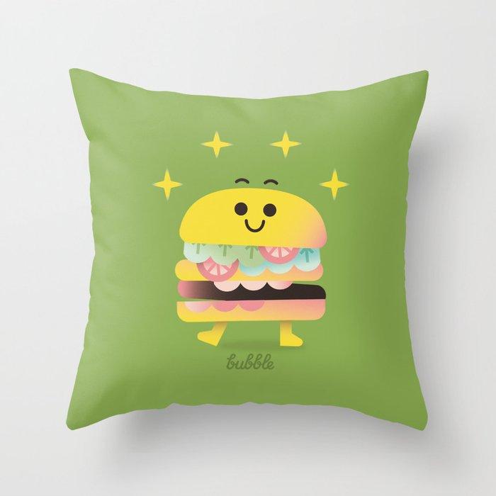 Dancing Burger Throw Pillow