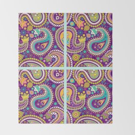 Checkered background with paisley pattern Throw Blanket