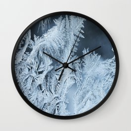 White Ice Crystals On Blue Background #decor #society6 #homedecor Wall Clock