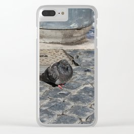 angry pidgeon on the ground Clear iPhone Case