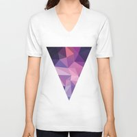 polygon V-neck T-shirts featuring VIOLET POLYGON by Crimson-Shark