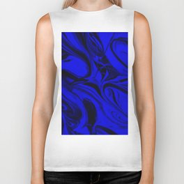 Black and Blue Swirl - Abstract, blue and black mixed paint pattern texture Biker Tank