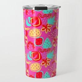 Brushstrokes Abstract - brights on hot pink Travel Mug