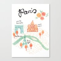 paris map Canvas Prints featuring Paris Map by Emma Block
