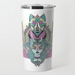 Valkyrie With Angel Wings And Wolf Travel Mug