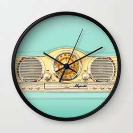 Retro old classic vintage blue teal Majestic radio iphone case Wall Clock