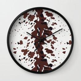 Texas Longhorn Cow Hide Print Wall Clock