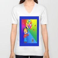 clown V-neck T-shirts featuring Clown by Art-Motiva