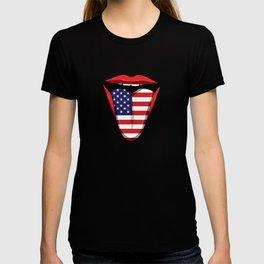 USA Flag Tongue Lips United States Stars Stripes T-shirt