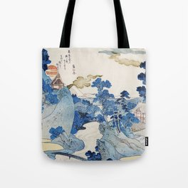 Fuji no Yukei by Utagawa Kuniyoshi (1798-1861) translated An Evening View of Fuji a traditional Japanese ukiyo-e style  of the stream of Asazawa in spring with view of Mount Fuji from the hot springs at Hakone Tote Bag