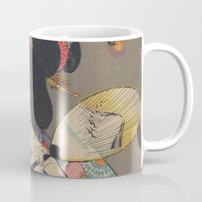 Japanese Art Print - Woman and Fireflies Coffee Mug