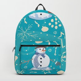 Seamless pattern with snowman Backpack