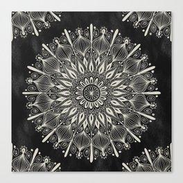 Vintage Mandala on black Canvas Print