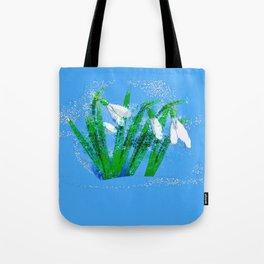 Digital Watercolor snowdrops Tote Bag