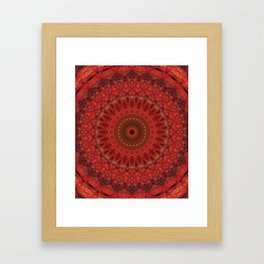 Mandala in pastel red and orange tones Framed Art Print