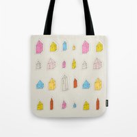 transparent Tote Bags featuring Transparent Houses by Judy Kaufmann