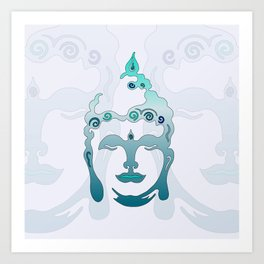 Buddha Head turquoise II Art Print