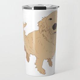 Golden Retriever Illustration on a White Background Travel Mug